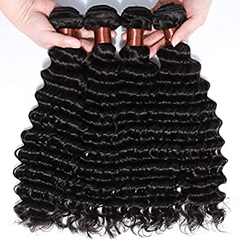 Image of Angie Queen Brazilian Virgin Hair Deep Wave Remy Human Hair 4 Bundles Weaves 100% Unprocessed Hair Extensions Natural Black Color 16 18 20 22Inch (100+/-5g)/bundle Can be Dyed and Bleached Health and Household