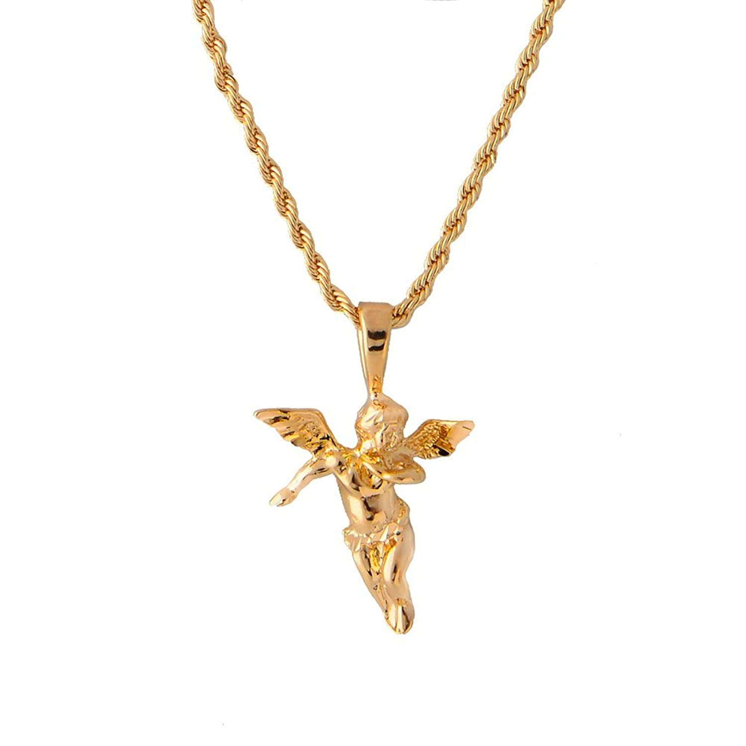 angel gold mini spicyice pendant necklace iced with products wings out cherub