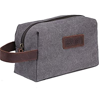 928217afb4 Wowbox Toiletry Bag for Men Canvas Travel Organizer Shaving Dopp Kit Cosmetic  Makeup Bag Grey well