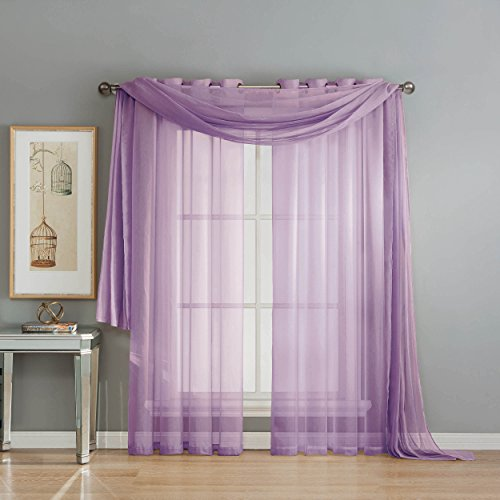 Window Treatments Ideas (Window Elements Diamond Sheer Voile 56 x 216 in. Curtain Scarf, Lilac)
