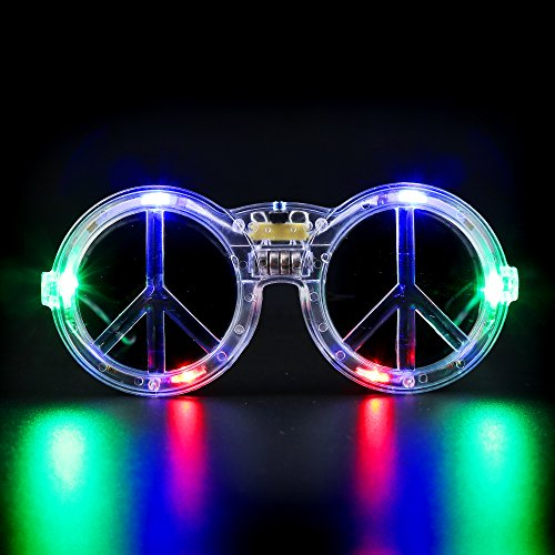 Fun Central G734 LED Light Up Peace Sign Sunglasses - - Sign Sunglasses
