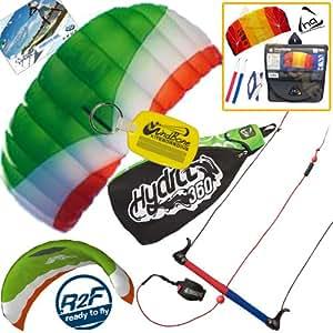 HQ Hydra II 350 V2 Kiteboarding Trainer Kite Bundle : Includes FREE 2ND Kite : Symphony Beach II 1.3M Foil Kite + WindBone Kiteboarding Key Chain : Water Trainer Foil Traction Power Kite