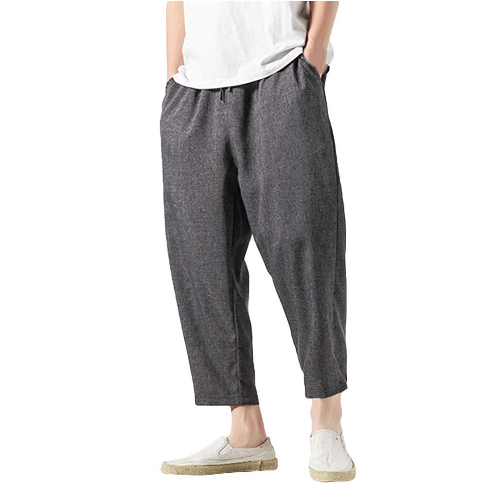 Allywit Mens Pant Vintage Casual Slim Fit Sports Loose Harem Pants Ankle-Length Linen Trousers Baggy Pants Black