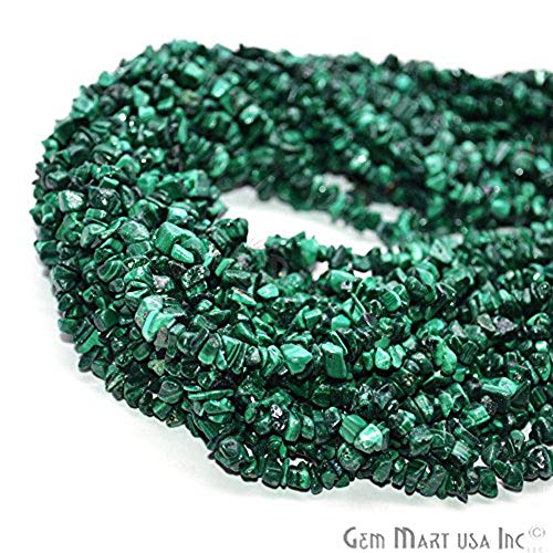 GemmartUSA Natural Malachite Chip Beads Natural Stone Bead1 Strand 34 inch Jewelry Making Supplies (CHMC-70001) ()