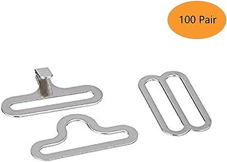 Silver Adjustable Necktie Strap Hook Fastener Bow Tie Cravat Clip Metal Hardware Pack of 50
