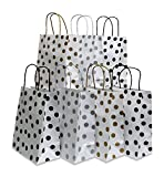 Paper Gift Bags, polka-dot Design, White with Gold, Silver and Black, 24 Medium bags, 8'' x 10'' x 4''