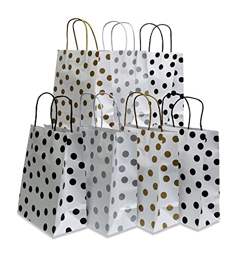 Paper Gift Bags, polka-dot Design, White with Gold, Silver and Black, 24 Medium bags, 8'' x 10'' x 4'' by Kraft King