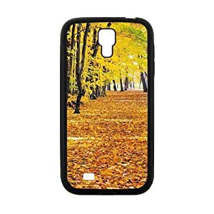 PersonalizedClear Phone Case For Samsung Galaxy S4,charming yellow forest and fallen leaves ground beauty autumn scene