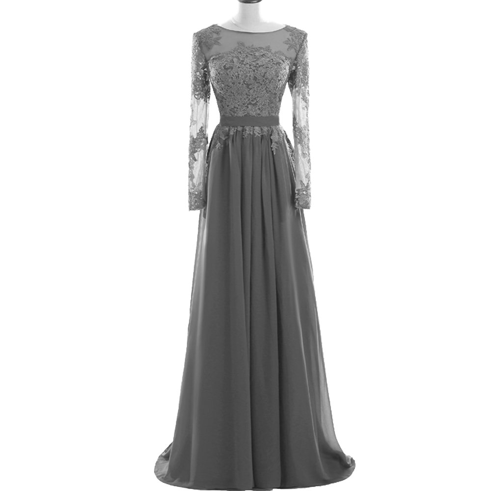 4c7f3426791 MEILISAY Meilishuo Women s Sheer Neck Applique Bridesmaid Dress Chiffon Evening  Formal Dress with Long Sleeves for Prom Party