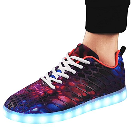 Padgene Chaussures de Sport Baskets Mixte Adulte Homme Femme Amant Sneakers Camouflage LED Lumineux 7 Couleurs USB Charge Violet