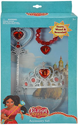 Disney Elena Avalor of Avalar Tiara and Wand, Bracelet Set