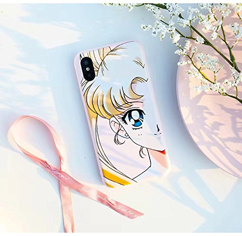 Slim Fit Smooth Soft TPU Pink Sailor Moon Case for iPhone X iPhoneX Ultra Sleek Japan Anime Cartoon Manga Protective Hot Cute Lovely Fashion Fairy Princess Japanese Gift Little Girls Teens Kids Women