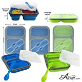 Alcraft The Addison Collapsible Silicone Lunch Box, Blue & Green, Set of 2