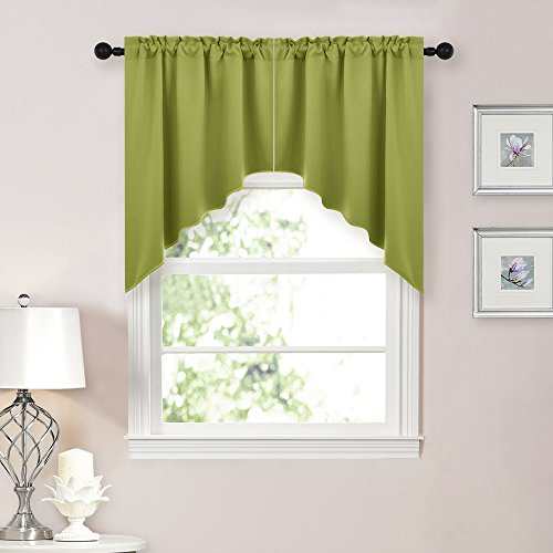 NICETOWN Home Decor Kitchen Tier Curtains- Tailored Scallope
