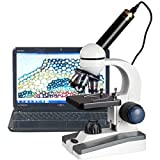 AmScope M150C-E Digital Compound Monocular Microscope, WF10x and WF25x Eyepieces, 40x-1000x Magnification, LED Illumination, Brightfield, Single-Lens Condenser + 0.3MP Camera