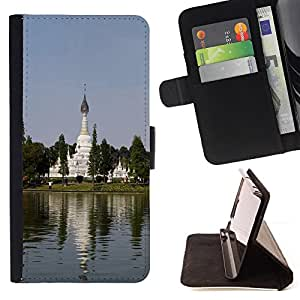- Chinese Garden - - Monedero PU titular de la tarjeta de cr????dito de cuero cubierta de la caja de la bolsa FOR Sony Xperia m55w Z3 Compact Mini RetroCandy