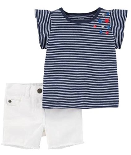 (Carter's 2-Piece 4th of July Top & Denim Short Set, 18M )
