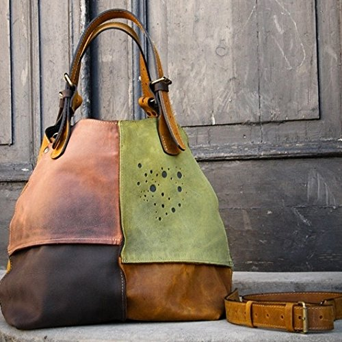 Handmade Leather Designer Bag, Oversized Leather Bag, Multicolor Bag, NEW by LadyBuq Art Studio