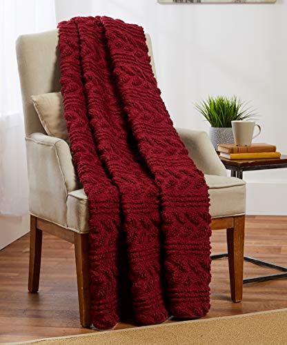 - POSH HOME Luxurious Warm Super Soft Embossed Velvet Throw & Embossed Sherpa Reversible Throw Blanket Couch Sofa Bed (Deep Red)