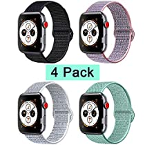 AK Compatible with for Watch Band 38mm 40mm 42mm 44mm, Soft Breathable Wristband with Adjustable Velcro Connector Sport Strap Replacement Compatible with for iWatch Series 4/3/2/1 (#D, 2 Pack (Marine Green+Seashell),38mm(40mm))