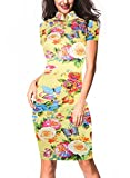 oxiuly Women's Vintage Print Stand Collar Stretch Party Dresses Midi Dress OX183 (S, Yellow)