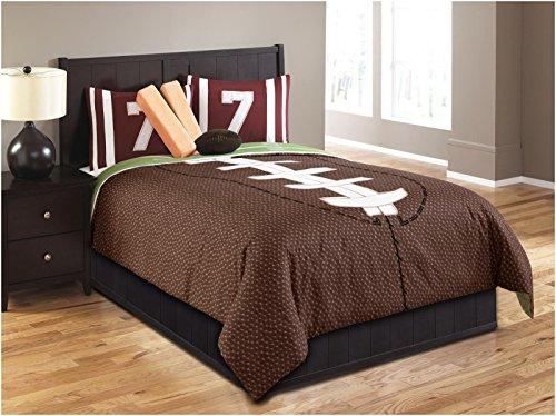 Hallmart Kids 43667 5-Piece Touchdown Comforter Set, Twin, Brown/Green