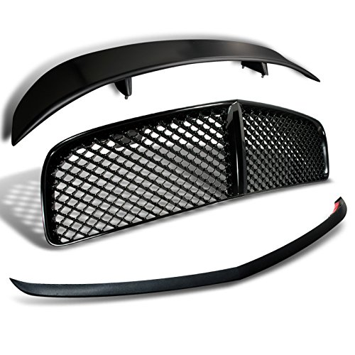 Dodge Charge Black Front Mesh Hood Grille+Bumper Lip+Rear Wing (Dodge Charger Rear Bumper)