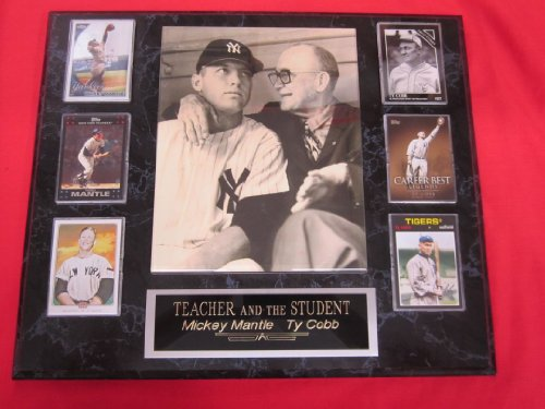 Mickey Mantle Ty Cobb 6 Card Collector Plaque w/8x10 RARE Photo