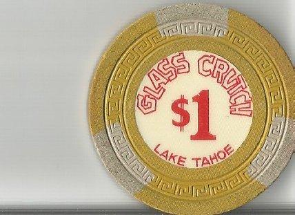 $1 glass crutch vintage lake tahoe casino chip super rare