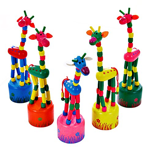 - Mideand Wooden Push Puppets Swing Rock Giraffe Pressure Relief Killing Time Finger Toy-Novelty Finger Toy for Kids & Adults