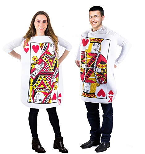 Tigerdoe King and Queen Card Costume - Poker Cards Costume - Couple Costume - Chess Piece Hats - King & Queen of Hearts (2 Pk Card Costume)