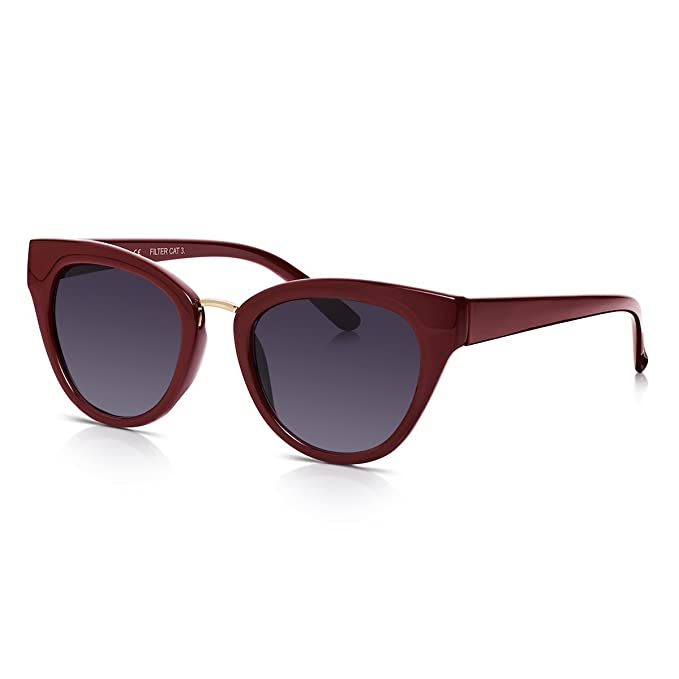 8d29ab14049e Sunglass Junkie Ladies Cats Eye Sunglasses Dark Red Frames + UV400 Smoke  Gradient Lenses with