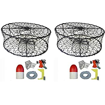 Image of 2-Pack of Kufa Sports Foldable Crab Trap with Red/White Floats, Harness, Bait Bag, Crab Caliper & Lead Core Singking Line Combo (CT50+CEQ1) x2 Canoeing
