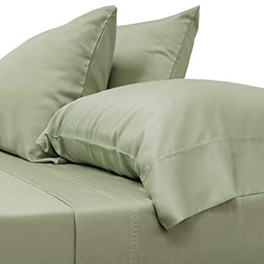 Cariloha Classic Bamboo Sheets 4 Piece Bed Sheet Set - Softest Bed Sheets and Pillow Cases - Lifetime Protection (King, Sage)