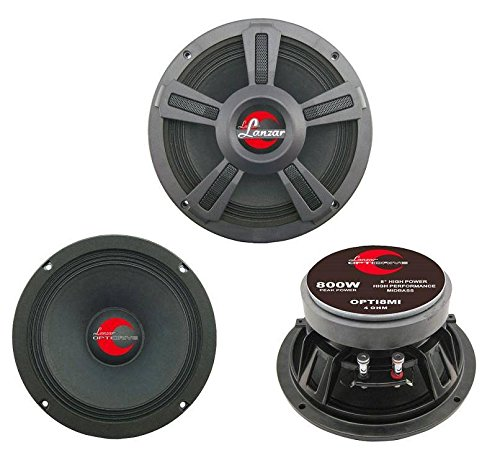 "Upgraded 8"" High Power MidBass - Powerful 800 Watt Peak 90Hz – 10 kHz Frequency Response 39 Oz Magnet Structure 3 Ohm w/Paper Cone and Cloth Surround Full Range Speaker - Lanzar OPTI8MI"