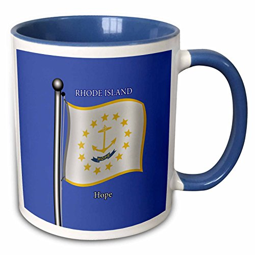 3dRose 777images Flags and Maps - States - Waving flag of Rhode Island on flagpole with state motto - 15oz Two-Tone Blue Mug (mug_212842_11)
