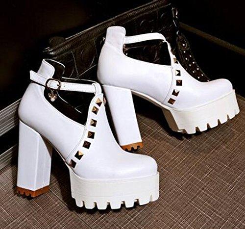 White High Easemax Rivets Rhinestones Pendant Womens Stylish Chunky Shoes Buckle Strap Platform Heel Pumps UUwTBOq8f