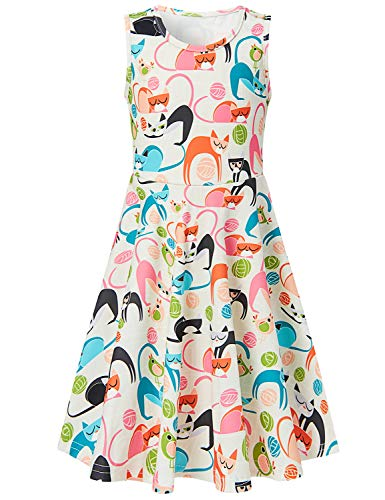 Goodstoworld Big Girls Sleeveless Summer Dresses 50s Cat Swing Skater Dresses Holiday Beach Sundresses Girls Clothing 10-13 Years]()