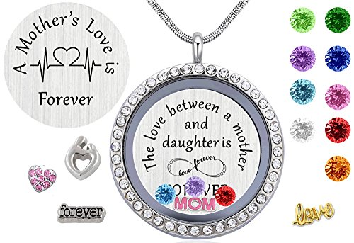 Beffy Daughter or Mom Love Gift, Memory Floating Locket Pendant Necklace with Birthstones & Charm for Morther Mom Mammy Mama or Girls by Beffy