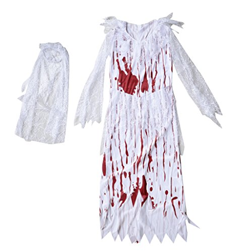 Fityle Women's Halloween Costume Horror Bloody Zombie Bride Girls Outfit Fancy -