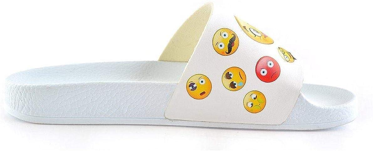 White Emoji Slide Sandal CAP104