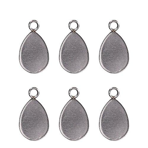 Small Teardrop Pendant - Stainless Steel Pendant Trays Teardrop Pendants Blanks for Jewelry Making Kit 10x14mm 50PCS