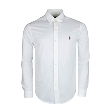 Ralph Lauren Chemise Polo Blanche en Coton piqué pour Homme  Amazon.fr   Vêtements et accessoires b1e43d30f78