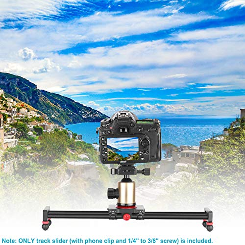 Neewer Camera Slider Carbon Fiber Dolly Rail, 16 inches/40 Centimeters with 4 Bearings for Smartphone Nikon Canon Sony Camera 12lbs Loading