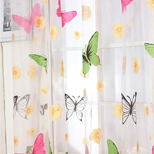 Emubody Elegance Butterfly Print Sheer Window Panel Curtains Room Divider for Living Room Bedroom, 200X100CM