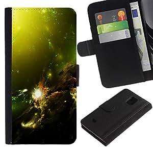 LASTONE PHONE CASE / Lujo Billetera de Cuero Caso del tirón Titular de la tarjeta Flip Carcasa Funda para Samsung Galaxy S5 Mini, SM-G800, NOT S5 REGULAR! / Green Space Galaxy