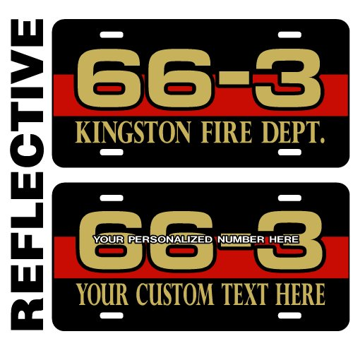 Red Line Reflective License Plate - Both Lines Personalized - Send a Message to Seller Upon Checkout with Your Information ()