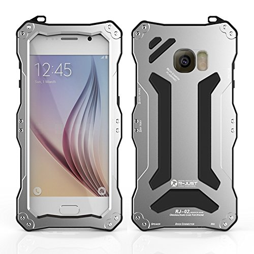 R-just NEW Gundam Series Waterproof Protective Case Snow-resistant Dustproof Shockproof Shell Heavy Duty Metal Cover Tempered Glass for Samsung Galaxy S6 Silver