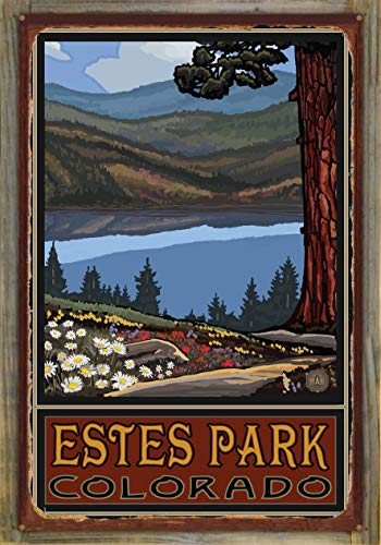 Northwest Art Mall Estes Park Colorado Lake Trails Big Hills Rustic Metal Print on Reclaimed Barn Wood by Paul A. Lanquist (24