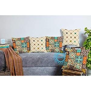 STITCHNEST Canvas Cotton 180 TC Cushion Cover, 16 x 16 Inch, Multicolour, 5 Pieces